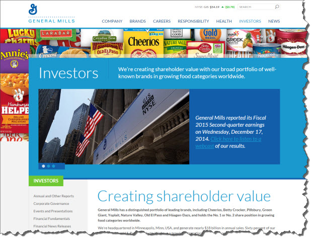 screenshot of general mills u.s. investors  home page